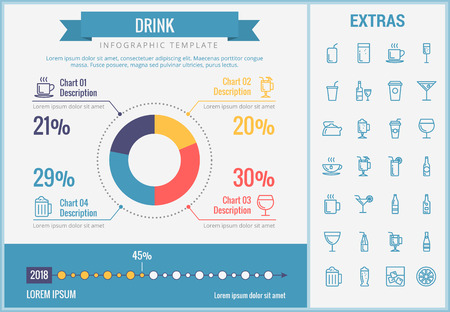 Drink infographic template, elements and icons. Infograph includes customizable pie chart, graph, line icon set with bar drinks, alcohol beverage, variety of glasses, non-alcoholic beverages etc.