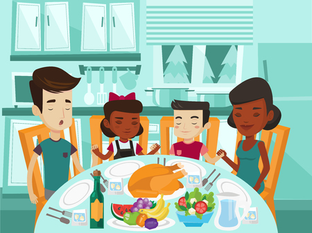Multiracial religious family giving thanks to God at festive table while holding each other hands and praying. Biracial parents and kids praying before thanksgiving dinner. Vector cartoon illustration