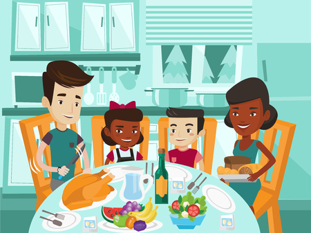 Multicultural family of four celebrating thanksgiving day. Happy african-american mother and caucasian father with biracial kids sitting at festive table with turkey. Vector cartoon illustration.
