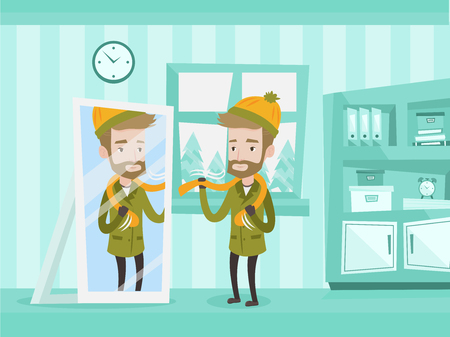 Young caucasian man getting dressed and putting on warm winter coat, hat and scarf. Man putting on outdoor clothes in front of a mirror in home hallway. Vector cartoon illustration.