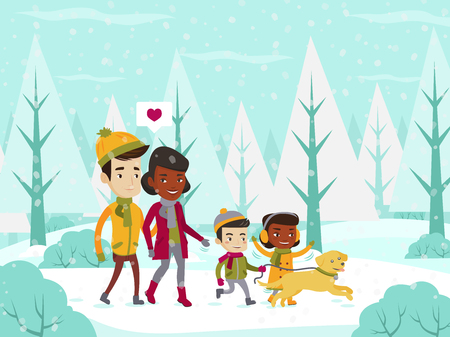 Young multiethnic married couple in love and their mulatto children with a dog walking in the winter forest. Family having fun while strolling together in snowy park. Vector cartoon illustration.