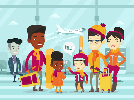 다민족 관광객 공항 터미널에 서 서 함께 겨울 휴가 여행. 공항에서 모임 아프리카 계 미국인 및 아시아 가족. 벡터 만화 일러스트 레이션