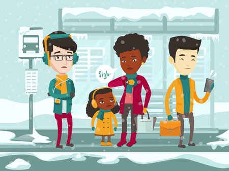 Diverse group of sad multicultural people standing at the bus stop during a heavy snowfall. Frozen people waiting for bus for long time during a cold winter day. Vector cartoon illustration.