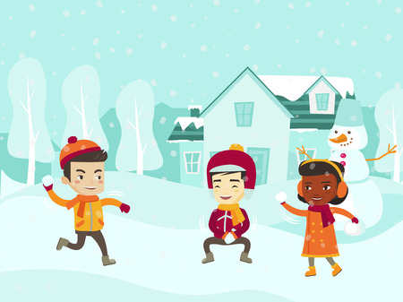 Multicultural children playing snowball fight and having fun in snow in winter. Happy African-american, Asian, Caucasian little friends having fun while playing snowballs. Vector cartoon illustration.