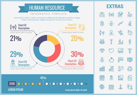Human resource infographic template, elements and icons. Infograph includes customizable pie chart, graph, line icon set with human resources manager, employee, business worker, corporate leader etc. Illustration