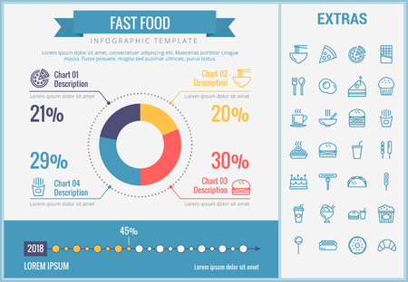 Fast food infographic template, elements and icons. Infograph includes customizable pie chart, graph, line icon set with fast food, a piece of pizza, sweet snacks, restaurant meal, unhealthy meal etc. Ilustração