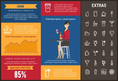 Pić infographic szablon, elementy i ikony. Infograph zawiera spersonalizowane wykresy, wykresy, zestaw ikon linii z napojami barowymi, napojami alkoholowymi, różnymi rodzajami kieliszków, napojami bezalkoholowymi itp.