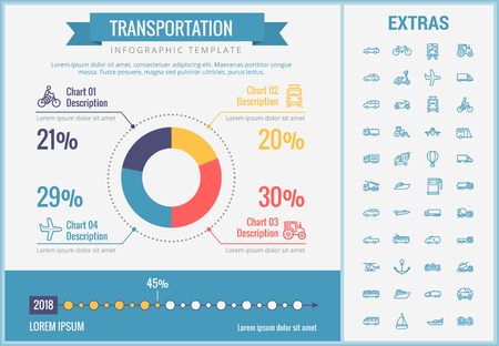 Transportation infographic template, elements and icons. Infograph includes customizable pie chart, graph, line icon set with transport vehicle, truck trailer, airplane flight, car, bus, train etc.