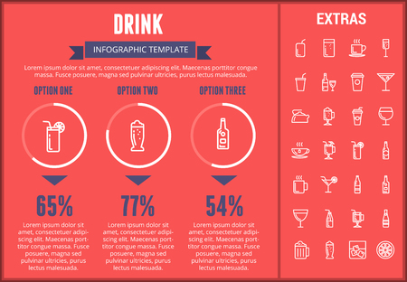 Drink infographic template, elements and icons. Infograph includes customizable graphs, three options, line icon set with bar drinks, alcohol beverage, variety of glasses, non-alcoholic beverages etc. 向量圖像