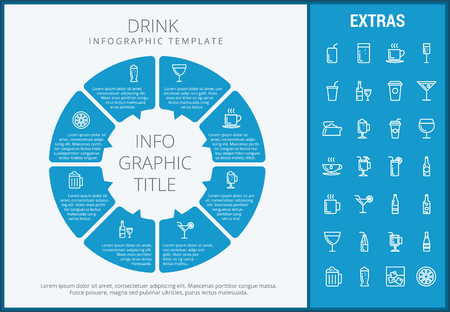 Drink infographic template, elements and icons. Infograph includes customizable circular diagram, line icon set with bar drinks, alcohol beverage, variety of glasses, non-alcoholic beverages etc. 向量圖像