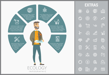 Ecology infographic template, elements and icons
