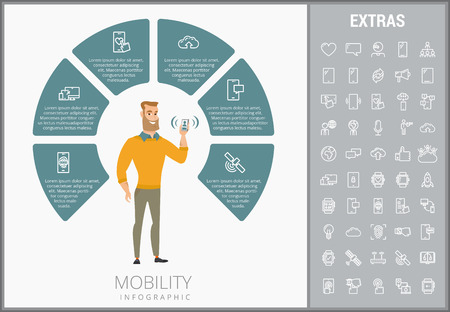 Mobility infographic template, elements and icons. Infograph includes customizable circular diagram, line icon set with mobile technology, smartphone app, cloud computing, network connection etc. Stock Illustratie