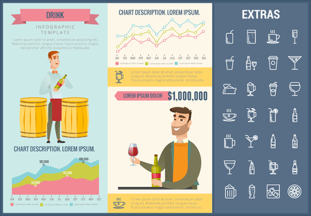 Drink infographic template, elements and icons. Infograph includes customizable graphs, charts, line icon set with bar drinks, alcohol beverage, variety of glasses, non-alcoholic beverages etc. 向量圖像