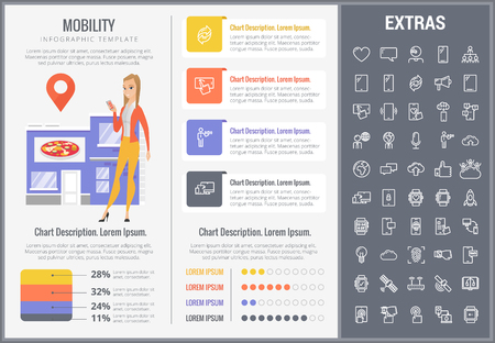 Mobility infographic template, elements and icons. Infograph includes customizable graphs, charts, line icon set with mobile technology, smartphone application, cloud computing, network connection etc Vettoriali