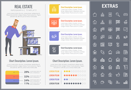 Real estate infographic template, elements and icons. Infograph includes customizable graphs, charts, line icon set with real estate agent, architecture engineering, investment broker