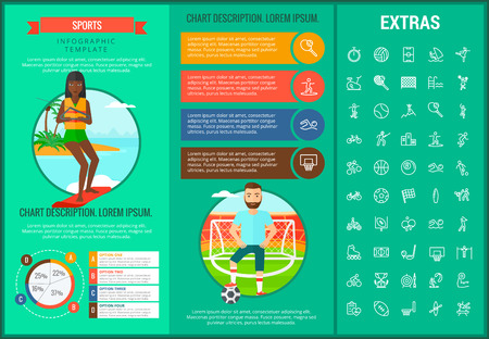 Sports infographic template, elements and icons. Infograph includes customizable graphs, charts, line icon set with sport equipment, sports field, competitive games, champion pedestal, athlete etc.