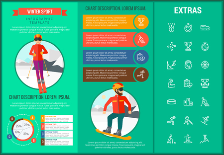 Winter sport infographic template, elements and icons. Infograph includes customizable graphs, charts, line icon set with sport equipment, winner trophy, team games, champion pedestal, athlete etc. Çizim