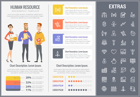 Human resource infographic template, elements and icons. Infograph includes customizable graphs, charts, line icon set with human resources manager, employee, business worker, corporate leader etc.