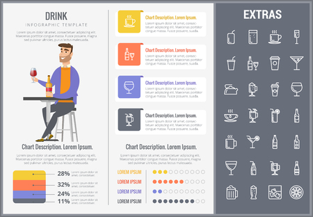 Drink infographic template, elements and icons. Infograph includes customizable charts, graphs, line icon set with bar drinks, alcohol beverage, variety of glasses, non-alcoholic beverages etc.