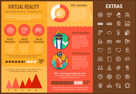 Virtual reality infographic template, elements and icons. Infograph includes customizable graphs, charts, line icon set with virtual reality glasses, vr technology, video games, tech app etc.