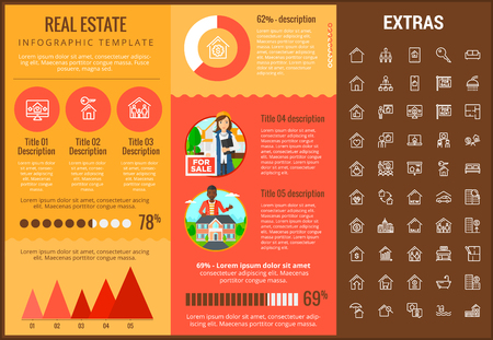 Real estate infographic template, elements and icons. Infograph includes customizable graphs, charts, line icon set with real estate agent, architecture engineering, investment broker, realtor etc.