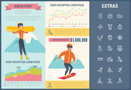Winter sport infographic template, elements and icons. Infograph includes customizable graphs, charts, line icon set with sport equipment, winner trophy, team games, champion pedestal, athlete etc. Illustration