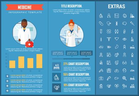 Geneeskunde infographic sjabloon, elementen en pictogrammen. Infograph omvat aanpasbare grafieken, grafieken, lijn pictogrammenset met medische stethoscoop, uitschakelen persoon, ziekenhuis arts, verpleegkundige, EHBO-kit etc.