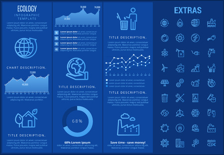 Ecology infographic template, elements and icons. Infograph includes customizable graphs, charts, line icon set with resources of green energy, environmental cycle, water and sun power, factory etc. Illusztráció