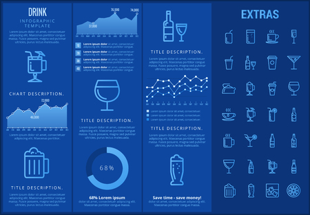 brandy: Drink infographic template, elements and icons. Infograph includes customizable graphs, charts, line icon set with bar drinks, alcohol beverage, variety of glasses, non-alcoholic beverages etc. Illustration