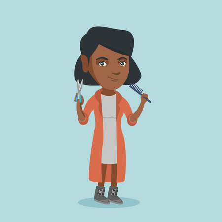 Full length of smiling african-american hairdresser holding a comb and scissors in hands, Young professional hairdresser ready to do a haircut. Vector cartoon illustration in square layout.