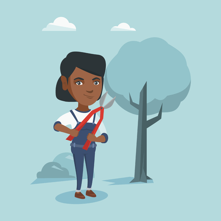 African-american gardener holding a pruner. Young gardener is going to trim branches of a tree with a pruner. Gardener working in the garden with a pruner. Vector cartoon illustration. Square layout.