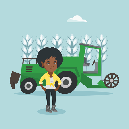 Young african-american farmer standing on the background of combine harvester working in a wheat field. Vector cartoon illustration. Square layout. Illustration
