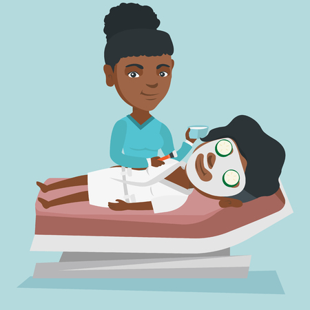 African cosmetologist applying a facial cosmetic mask on face of a client in beauty salon. Young woman lying on table in salon during cosmetology procedure. Vector cartoon illustration. Square layout.