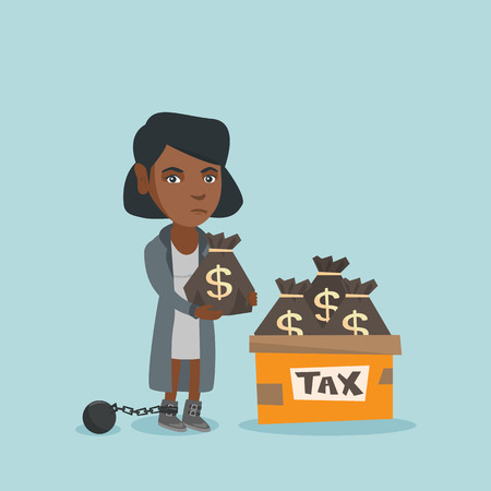 Chained african business woman standing near bags with taxes. Young upset business woman holding bag with dollar sign. Concept of tax time and taxpayer. Vector cartoon illustration. Square layout. Ilustração