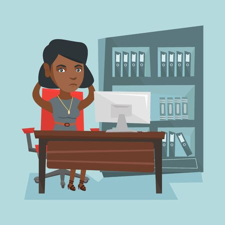 Stressed african office worker clasping her head.