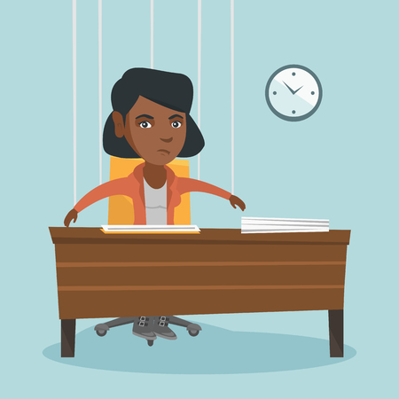 African office worker hanging on strings like a marionette. Office worker marionette sitting at workplace. Emotionless office worker marionette working. Vector cartoon illustration. Square layout. Illustration