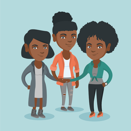 Young african business women putting their hands together. Business women stacking their hands. Group of business women joining hands. Partnership concept. Vector cartoon illustration. Square layout.