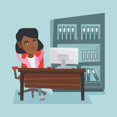 Satisfied african-american employee sitting at workplace in the office. Young relaxed employee relaxing in the office with hands clasped behind head. Vector cartoon illustration. Square layout. Illustration