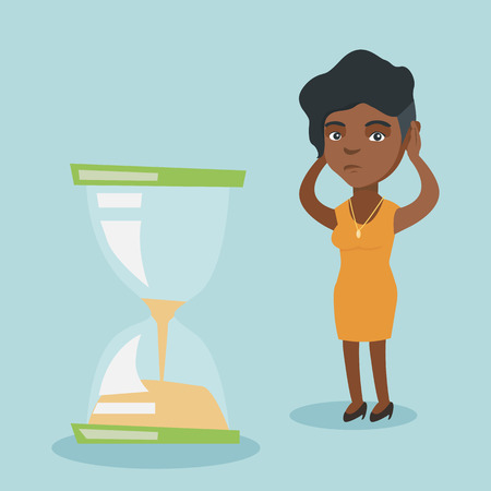 Young african business woman looking at hourglass symbolizing deadline. Illustration