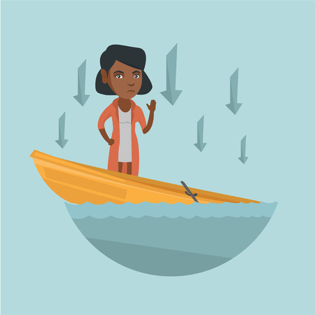 Young african-american business woman standing in sinking boat.