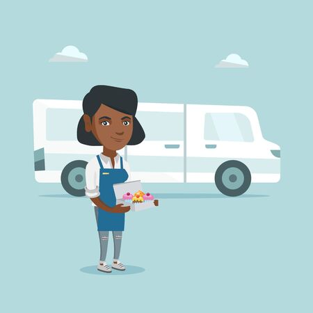 Young african-american baker standing on the delivery truck. Illustration