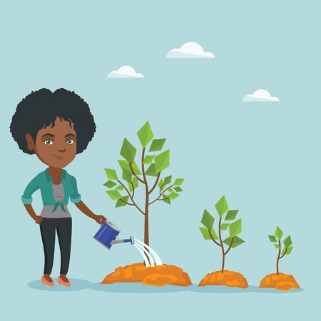 African-american business woman watering trees of three sizes.