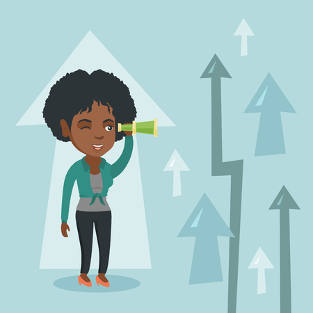 Young african business woman looking through spyglass on arrows going up symbolizing business opportunities. Business vision and opportunities concept. Vector cartoon illustration. Square layout.