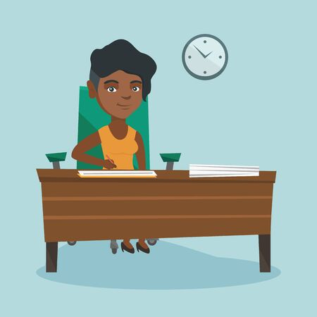 Young african business woman signing a contract.
