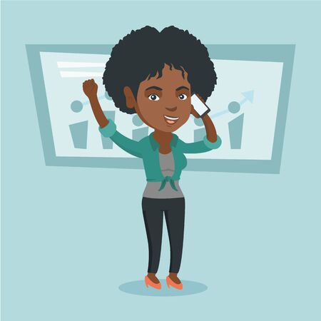 African successful business woman talking on the mobile phone. Successful business woman standing with raised hands on the background of increasing chart. Vector cartoon illustration. Square layout.