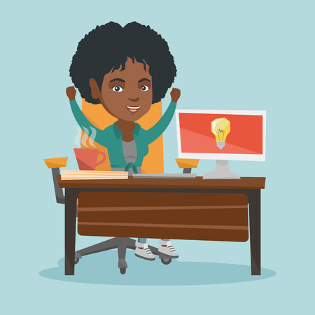 African-american woman sitting at workplace with raised hands because she came up with successful business idea. Business woman working on new business idea. Vector cartoon illustration. Square layout Ilustração