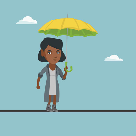 African business woman walking on a tightrope with umbrella in hand. Business woman balancing on a tightrope. Concept of risks and challenges in business. Vector cartoon illustration. Square layout. Illustration
