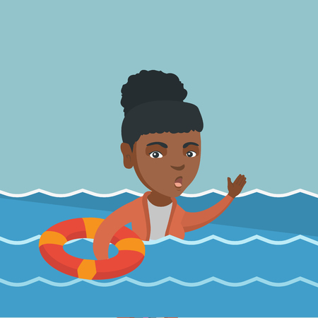 Young frightened business woman sinking and asking for help. Afraid african sinking business woman floating with lifebuoy. Concept of failure in business. Vector cartoon illustration. Square layout.
