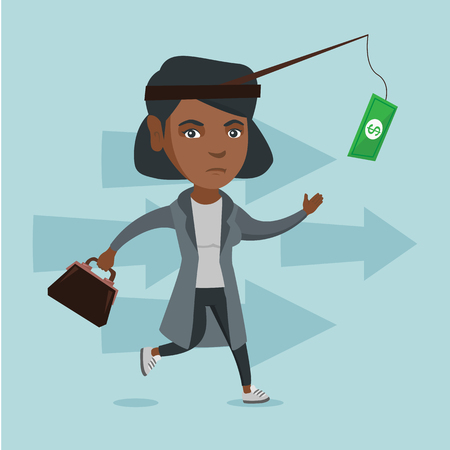 African business woman motivated by money hanging on a fishing rod. Business woman running for money hanging on a fish-rod. Business motivation concept. Vector cartoon illustration. Square layout.