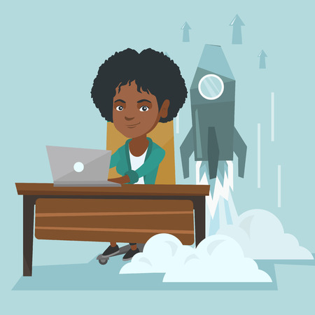 Young african business woman working on a laptop on a new business start up while rocket taking off behind her back. Business start up, innovation concept. Vector cartoon illustration. Square layout. Illustration